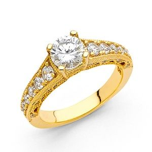 4-Prong Round Basket-Set & Pave Side CZ Wedding